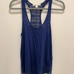 💙Blue Miami Racer Back Tank with Lace size small